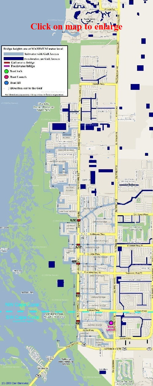 Map Cape Coral Florida Cape Coral Maps of canals and bridges