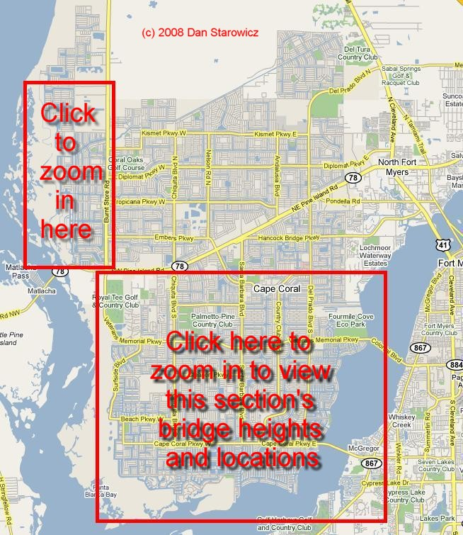 Cape Coral Florida Waterfront Bridge Heights To The Gulf Access - Cape coral map